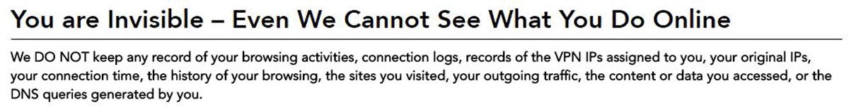 vpn service without logging