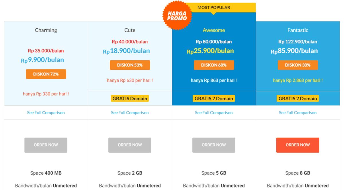 paket dan harga idwebhost